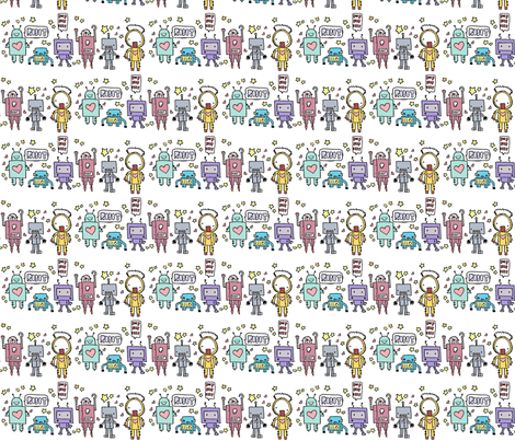 cute robotz fabric by michiela on Spoonflower - custom fabric