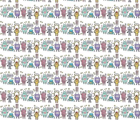 cute robotz fabric by michiela on Spoonflower - custom fabric