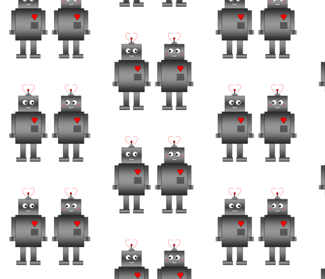 Robot Love fabric by kulabeth on Spoonflower - custom fabric