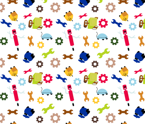 Engineer Bot fabric by evenspor on Spoonflower - custom fabric