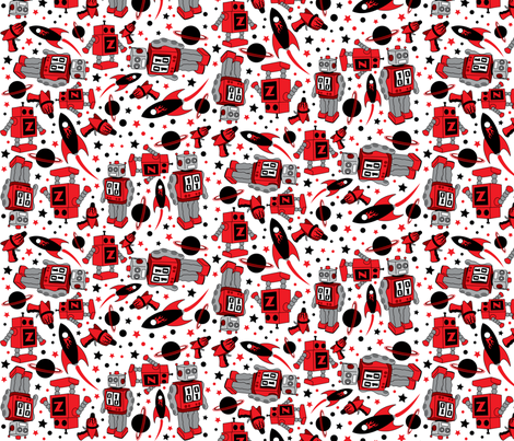 robot-fabric fabric by pyrette on Spoonflower - custom fabric