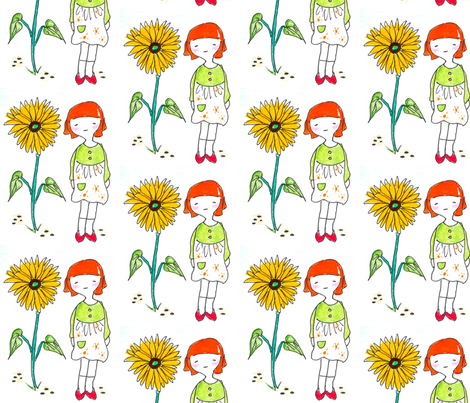 Girl with Sunflower fabric by nicelycreatedforyou on Spoonflower - custom fabric