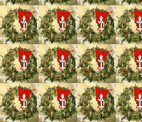 Santa Wreath fabric by karenharveycox on Spoonflower - custom fabric