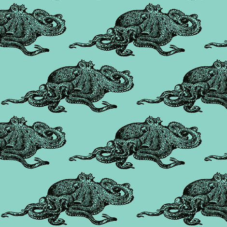 Octopus-Blue fabric by nalo_hopkinson on Spoonflower - custom fabric