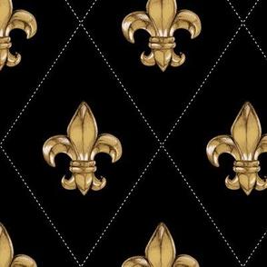Fleur-de-Lys Black & Gold