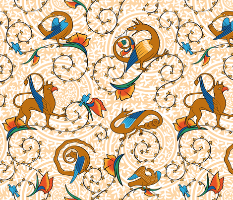 medieval_bestiary fabric by jorz on Spoonflower - custom fabric