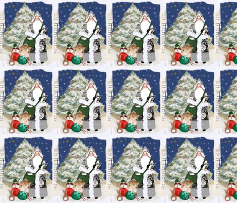 Father Christmas 2010 Ephemera fabric by karenharveycox on Spoonflower - custom fabric