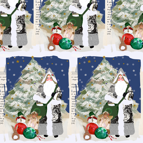 Father Christmas 2010 Ephemera fabric by karenharveycox on Spoonflower - custom fabric