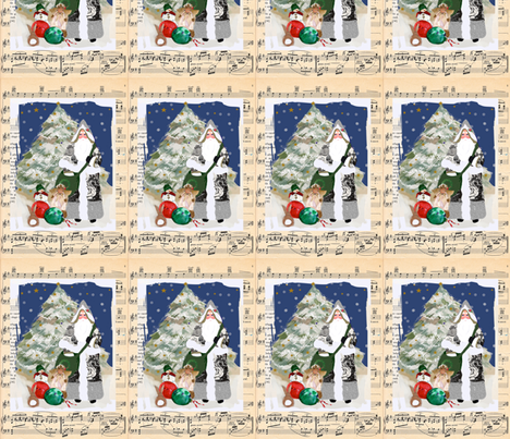 Father Christmas sheet music fabric by karenharveycox on Spoonflower - custom fabric