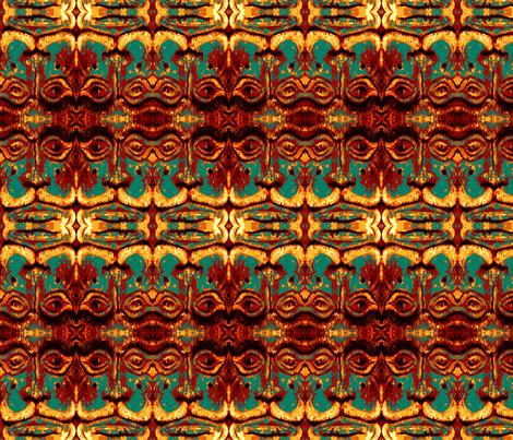 Tiki Man Teal fabric by emeraldile on Spoonflower - custom fabric