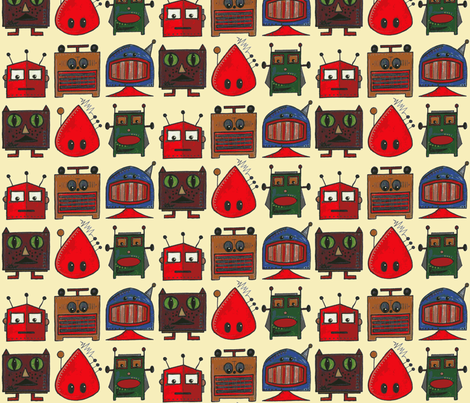 scrummy retro robots fabric by scrummy on Spoonflower - custom fabric