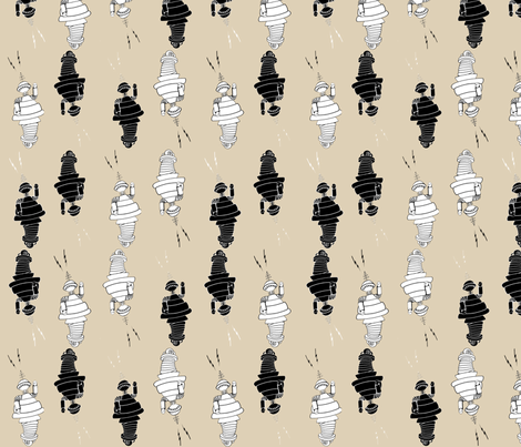 Robot Parade II fabric by poetryqn on Spoonflower - custom fabric