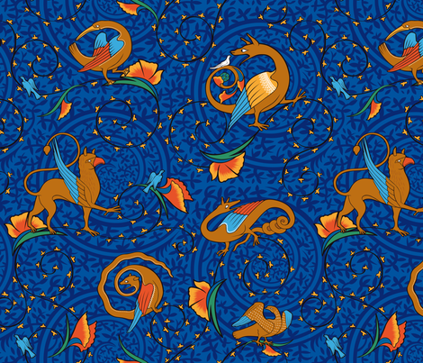 medieval_bestiary_blue fabric by jorz on Spoonflower - custom fabric