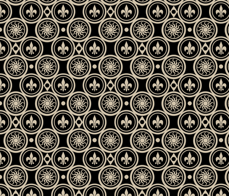Black Henricus fabric by poetryqn on Spoonflower - custom fabric