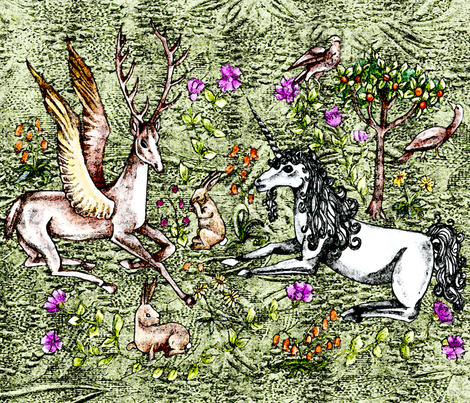 medieval unicorn garden large fabric by uzumakijo on Spoonflower - custom fabric