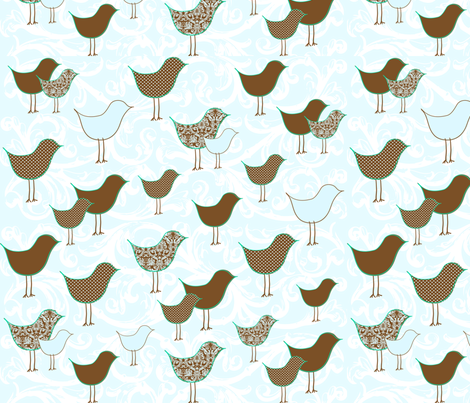 Bye Bye Birdie Blue fabric by creationsbycrissy on Spoonflower - custom fabric