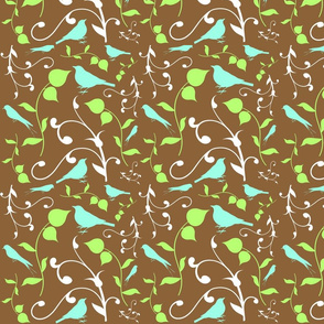 Swirly Bird Small Print Brown Multi