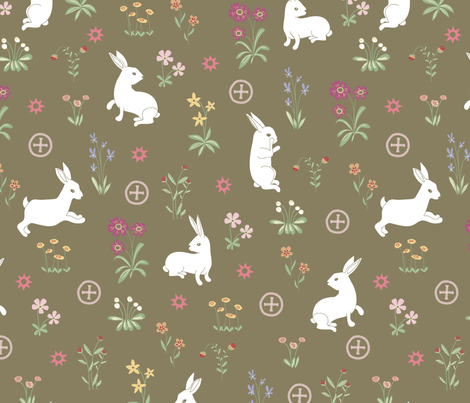 la_demoiselle_aux_lapins fabric by papier_chiffon on Spoonflower - custom fabric