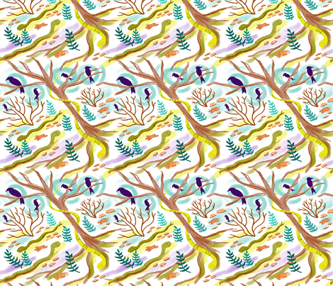 Snakes, Crows and Trees fabric by vinpauld on Spoonflower - custom fabric