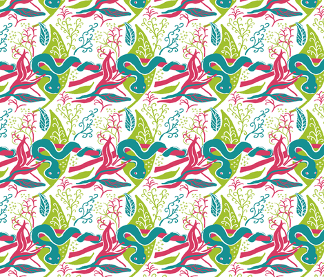 Tropical snakes green and pink fabric by vinpauld on Spoonflower - custom fabric