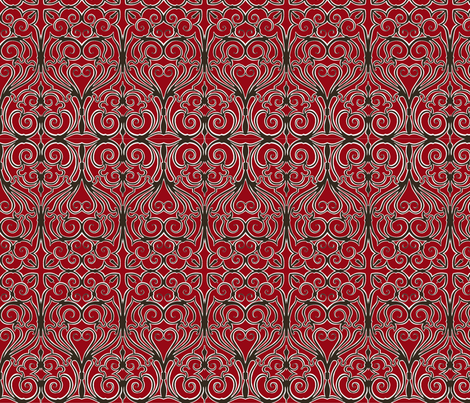 gothic iron work red fabric by minimiel on Spoonflower - custom fabric
