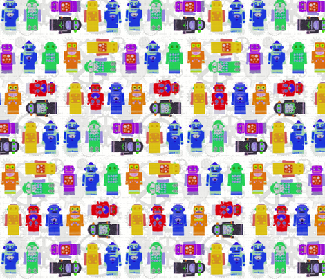 Robot Crayons fabric by poetryqn on Spoonflower - custom fabric