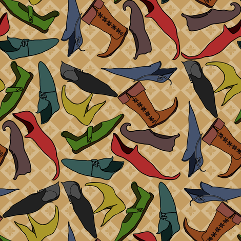 Medieval Shoes fabric by leeleeandthebee on Spoonflower - custom fabric