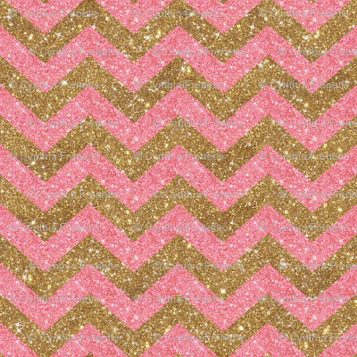 Glitter Chevron Pink and Gold
