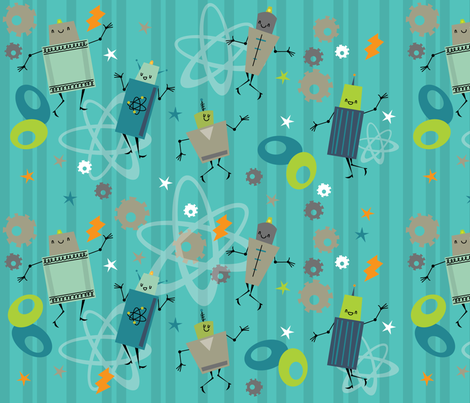 robot_boogie fabric by cynthiafrenette on Spoonflower - custom fabric