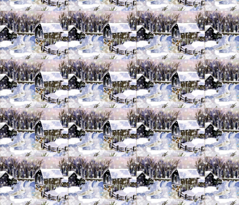 A snowy, snowy night fabric by karenharveycox on Spoonflower - custom fabric