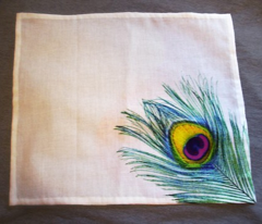 Peacock feather hankies
