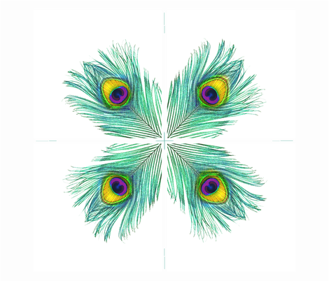 Peacock feather hankies fabric by cricketnoel on Spoonflower - custom fabric