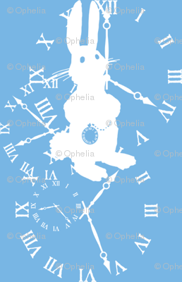Rabbit Late (white on blue)