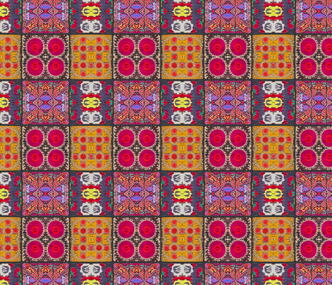 Suzani Squares Rose fabric by les68 on Spoonflower - custom fabric