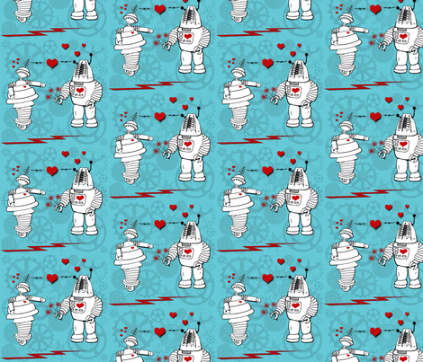 Robot Love fabric by poetryqn on Spoonflower - custom fabric