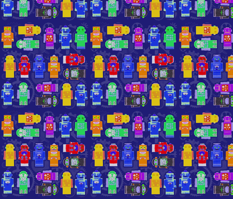 Blue Robot Crayons fabric by poetryqn on Spoonflower - custom fabric
