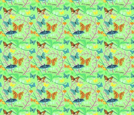 Butterflies on Bright Green fabric by vinpauld on Spoonflower - custom fabric