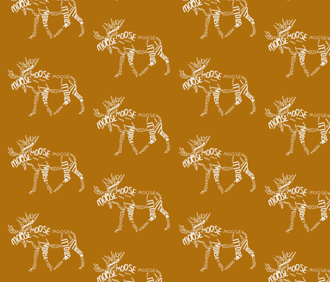 Moose Calligram fabric by blue_jacaranda on Spoonflower - custom fabric