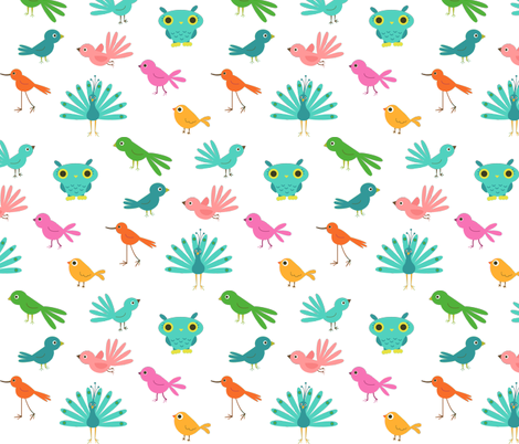 Various Colourful Birds fabric by zoel on Spoonflower - custom fabric