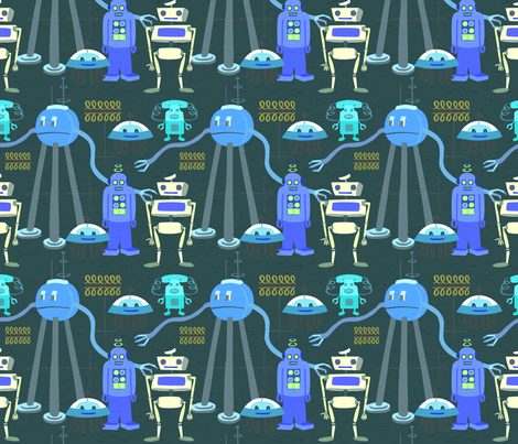 Retro Robots Blue Gray 3 fabric by vinpauld on Spoonflower - custom fabric