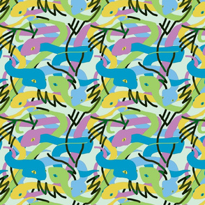 Tropical snakes Blue Yellow Green