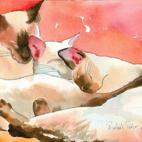 Trio Line Wash of Siamese Cats