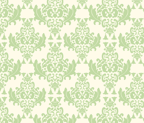 Celery Cream Damask fabric by mayabella on Spoonflower - custom fabric