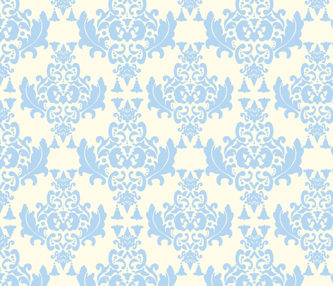 Light Blue on Cream Damask