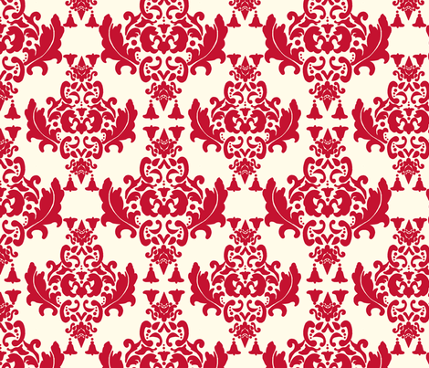 Cherry Cream Damask fabric by mayabella on Spoonflower - custom fabric