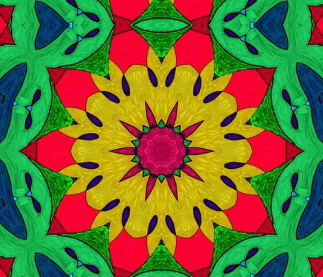 Tropicali Kaleidoscope 1 fabric by audarrt on Spoonflower - custom fabric