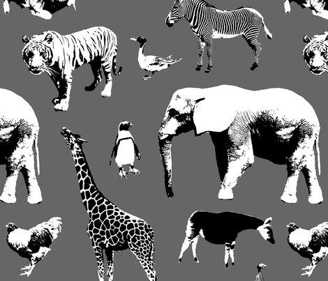 Zoo Animal Fabric fabric by primenumbergirl on Spoonflower - custom fabric