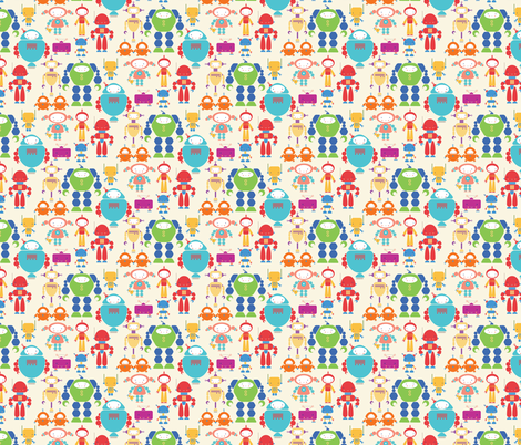 Cute-bots fabric by iheartlinen_ on Spoonflower - custom fabric