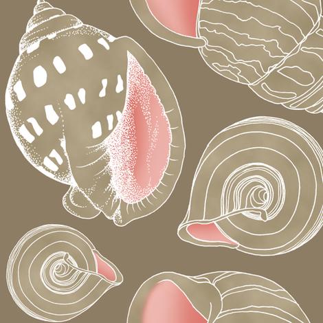 Sketchy Seashells - Blushing Taupe fabric by pattysloniger on Spoonflower - custom fabric