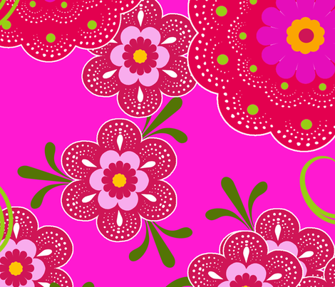 fleur de bohème pink fabric by nadja_petremand on Spoonflower - custom fabric